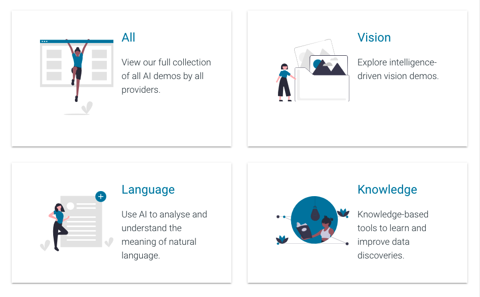 An view of Explore AI showing the main sections: All, Vision, Language and Knowledge.