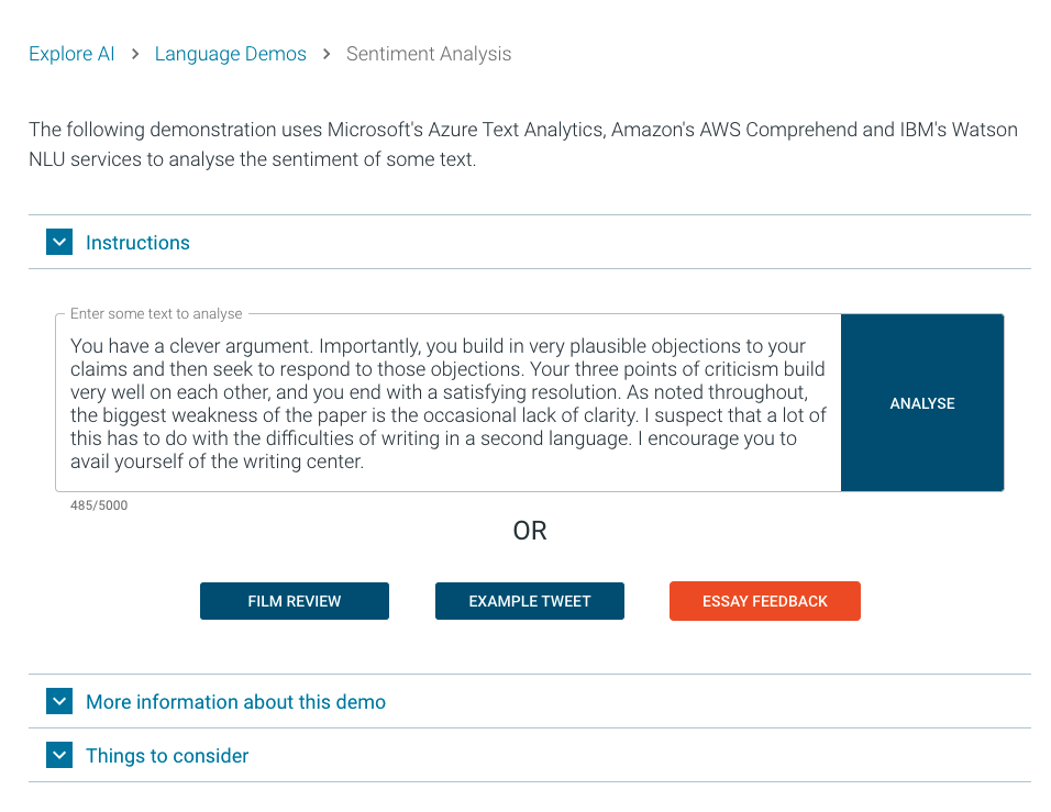 Screen shot of sentiment analysis
