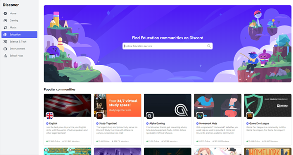 Education category on Discord